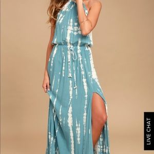 Teal and White Tie Dye Maxi Dress